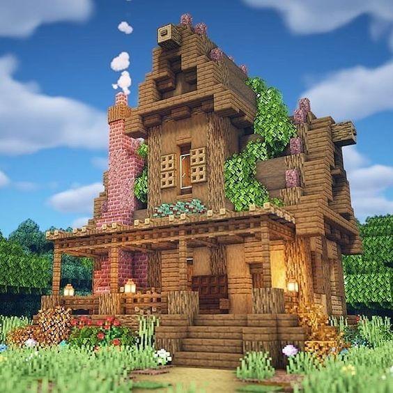 Casa De Madera Y Ladrillos Minecraft En 2020 Arquitectura Minecraft Casas Minecraft Mansion De Minecraft