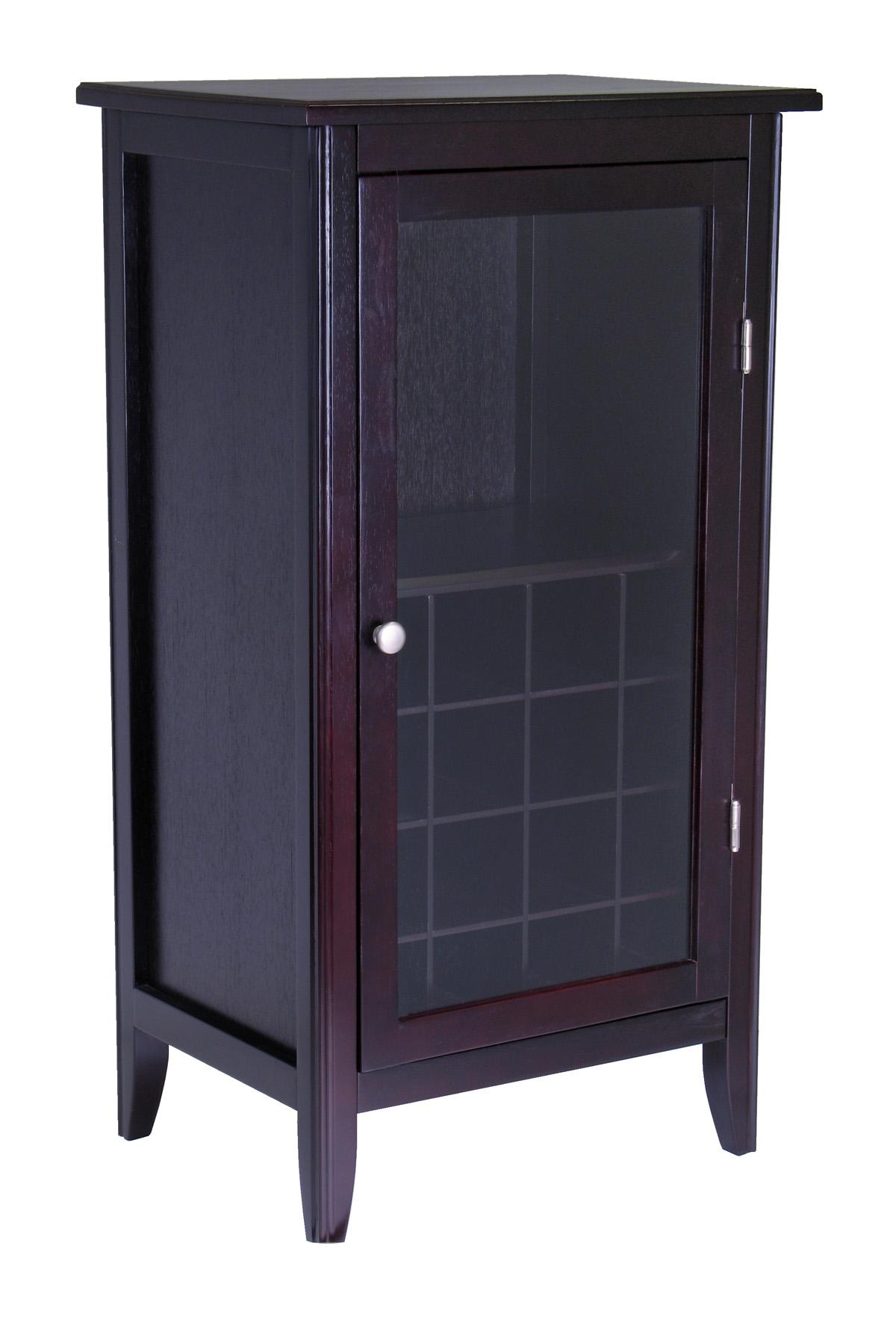 WINSOME RYAN WINE CABINET 16 BOTTLE ONE DOOR GLASS RACK