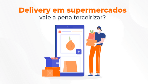 Consumidor comprando online produtos de supermercado.
