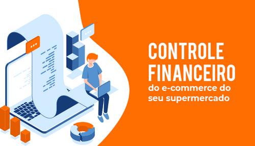 Personagem ilustrativo em um fundo branco com laranja sentado fazendo o controle financeiro no computador.