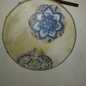 tambor pintado a mano