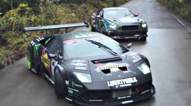Batalha de drift entre um Mustang RTR vs Lamborghini Murcielago