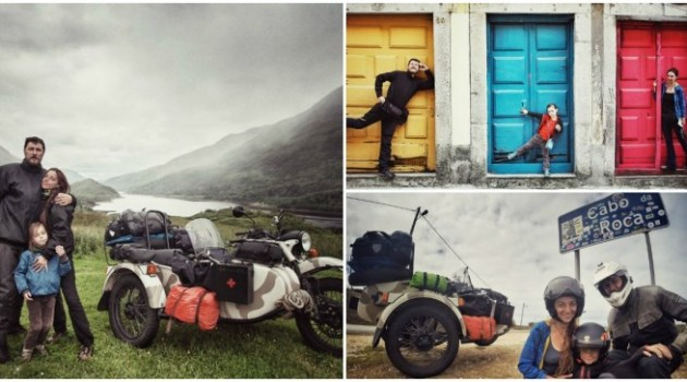 Pais viajam com seu filho de 4 anos por 41 países em sua moto