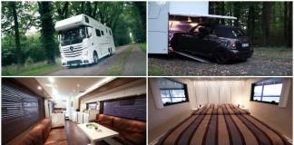 Mercedes Vario Alkoven 1200 – Uma caravana luxuosa que tem até garagem para um carro