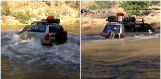 Condutor de um Nissan Patrol tenta atravessar um rio e por pouco não aconteceu o pior