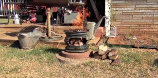 Aprende como fazer uma churrasqueira com duas rodas de carro