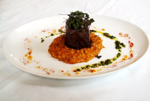 Churrasco y risotto.