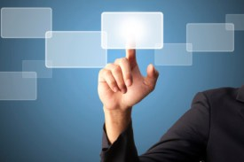 Man finger pushing interface use of innovative technologies