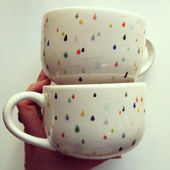 rain drop latte mug