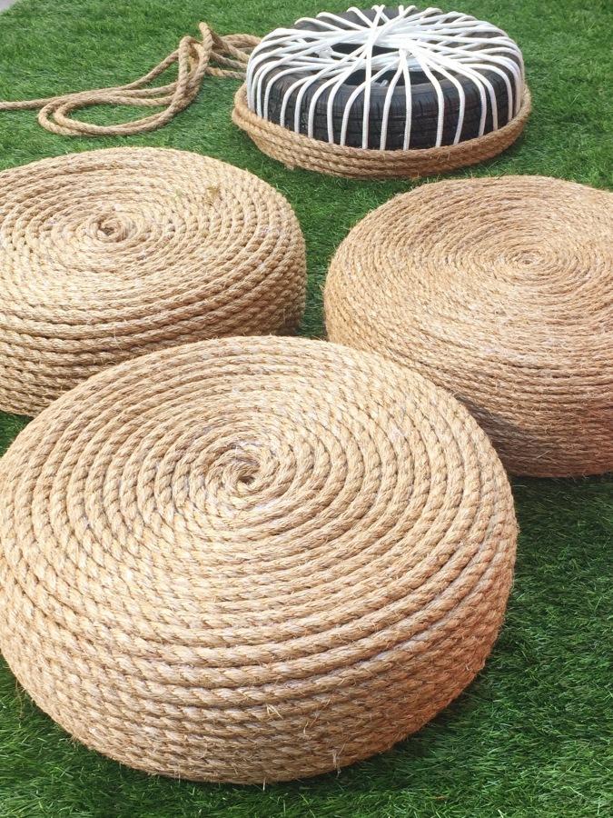 DIY rope ottoman