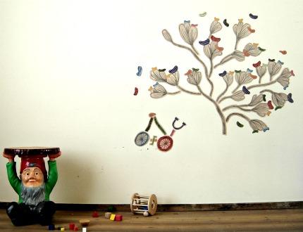 ciclo e albero adesivi stoffa