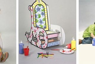 La sedia a dondolo in cartone da far dipingere ai bambini
