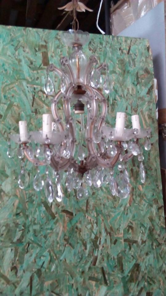 Lampadario design multistrato in cristallo (cm 54). Lampadario Cristallo Usato E Vintage