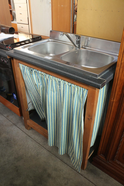 Mobile lavandino lavello cucina 2 vasche acciaio