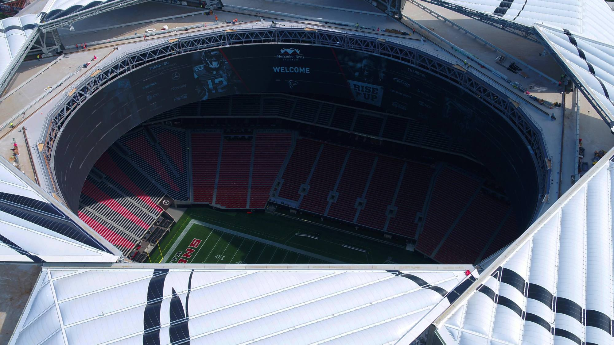hight resolution of mercedes benz stadium officials announce sunday s falcons vs packers game will be team s first open air game since 1991 in atlanta weather permitting