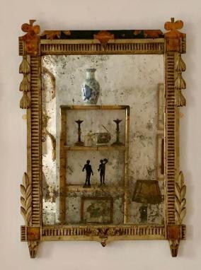 Espejo en madera tallada y pintada