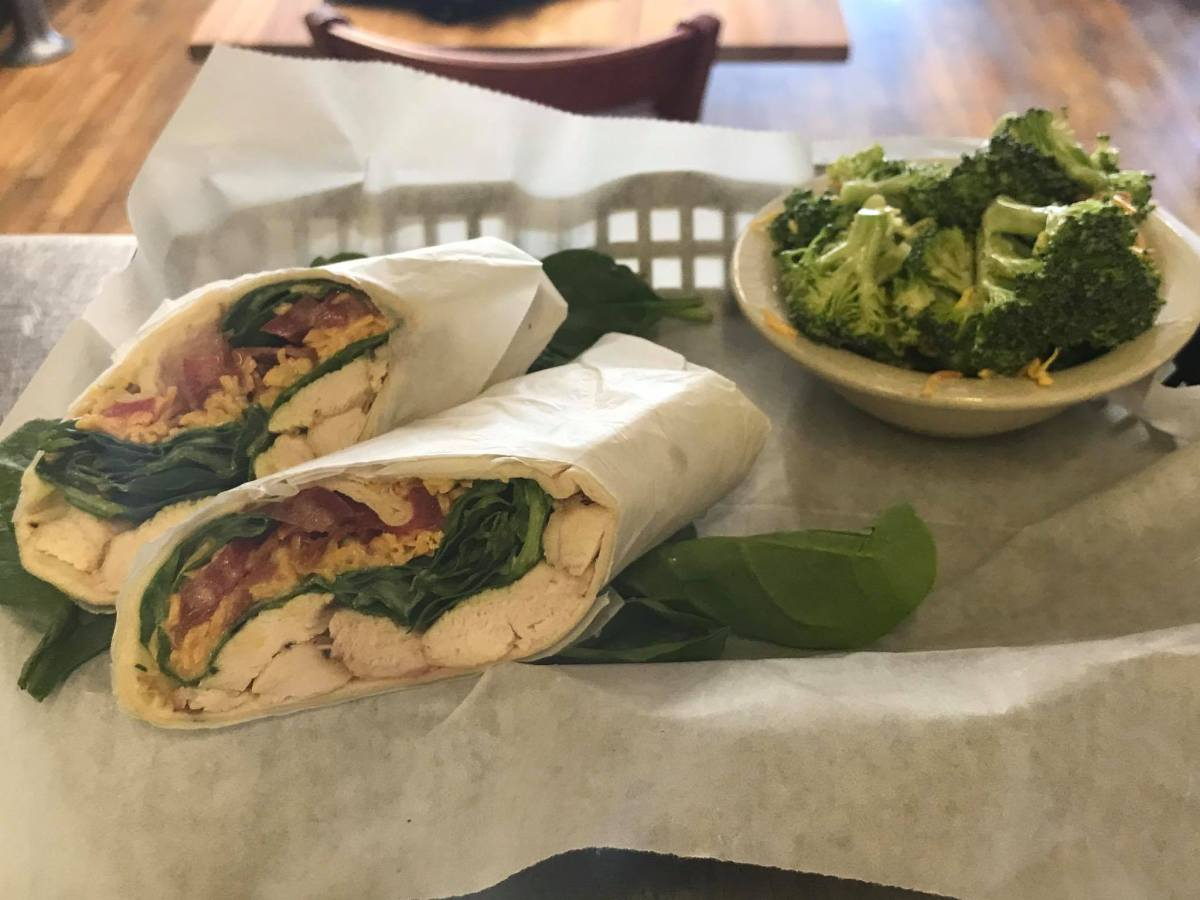Grilled Chicken Bacon wrap with a fresh avocado ranch dressing!