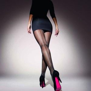 Panty fino negro de costura