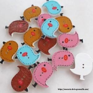 réf : 05-b-20-007 bouton petits oiseaux