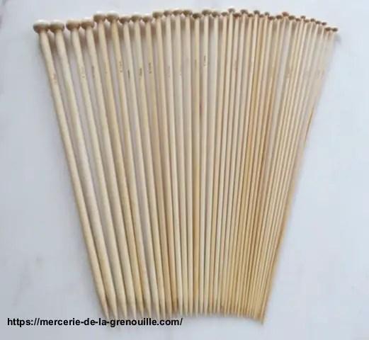 réf 01-b-100 lot d'aiguilles en bambou 36 cm