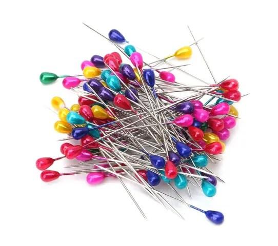 épingle tête perle colorée longue
