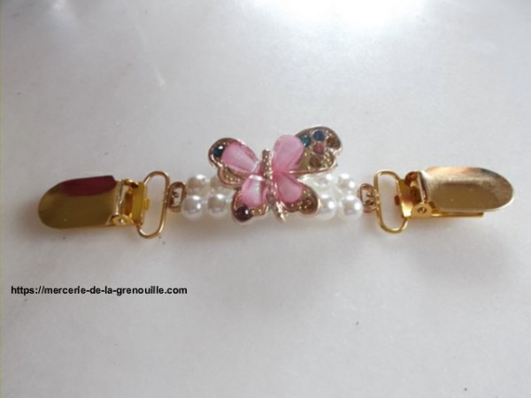 Broche clip papillon rose
