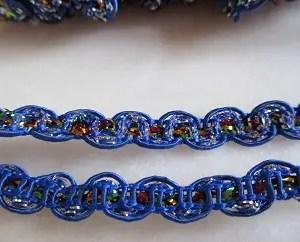 ruban dentelle bleu marine et lurex