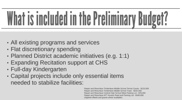what is included in preliminary budget