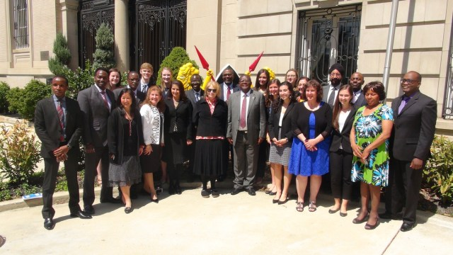 Dr. Angwenyi and the group visitng the Kenyan Embassy in Washington, DC