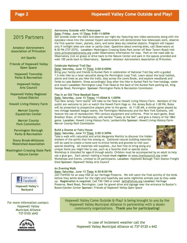 Come Outside and Play Activities 2015 Page 2