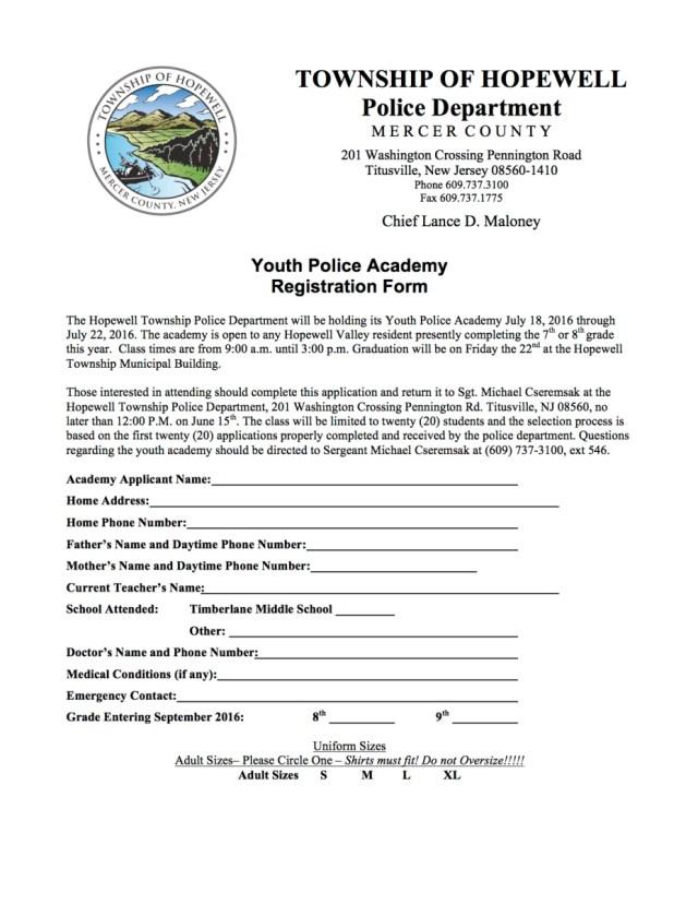 Youth Police Academy Registration Form | MercerMe com