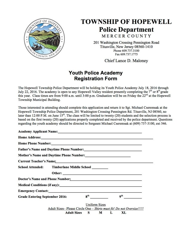 Youth Police Academy Registration Form