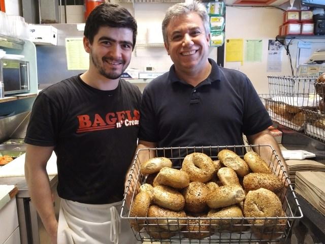 """Assistant bagel maker Moustaf with owner Nadir """"Mike"""" Dural"""