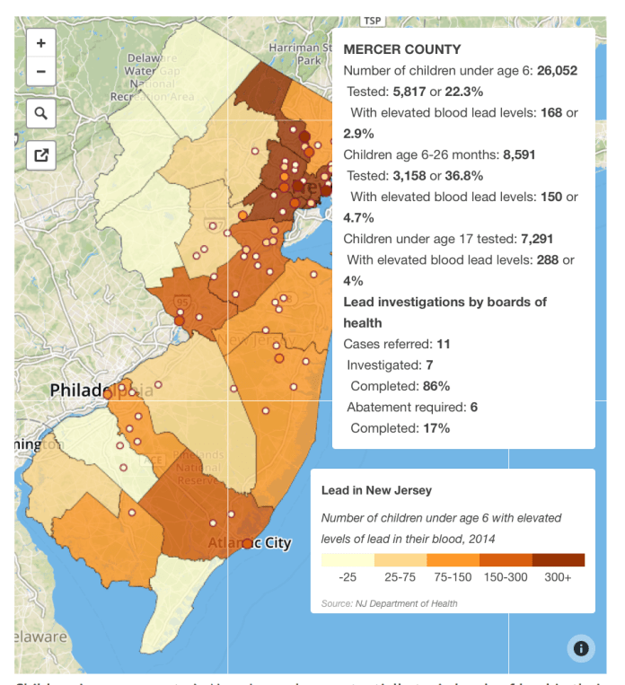Interactive Map: Kids in Every County in New Jersey At Risk for Lead Poisoning