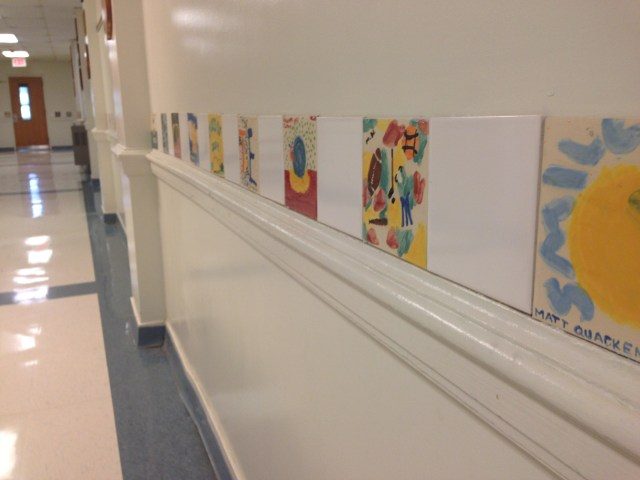 Tiles line the hallway at HES