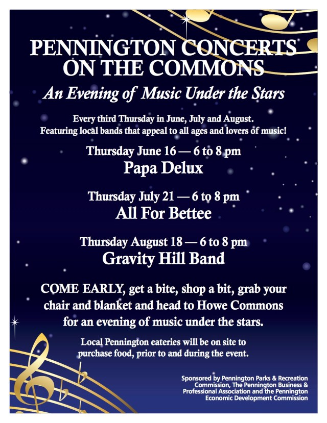 Pennington summer concernts flyer
