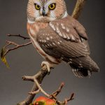 SAW WHET OWL DECOY with foliage