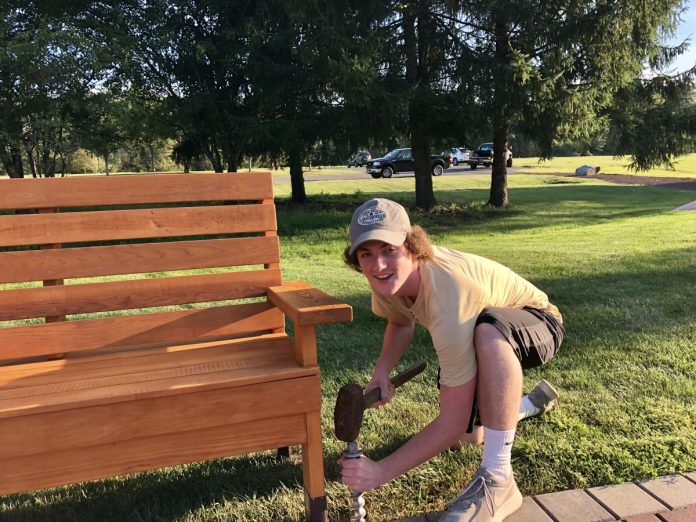 Eagle Scout Makes Benches for September 11 Memorial in Woolsey Park