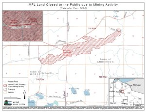 Map of forest land closed to the public due to mining activity in Iron and Ashland counties, 2014. Source: Wisconsin DNR, https://dnr.wi.gov/topic/Mines/documents/gogebic/MFLMap20140819.pdf