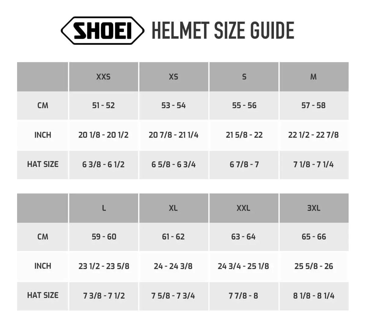 Bildresultat för Shoei size guide