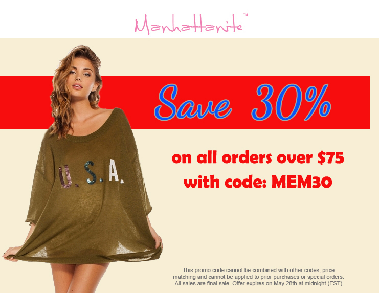 Memorial Day Sale! Save 30% on all orders over $75 at ShopManhattanite.com! Use Code: MEM30, Shop Now!