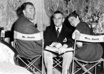 "Augustus Goetz, William Wyler, and Ruth Goetz on the set of ""The Heiress,"" courtesy Melanie Wyler."