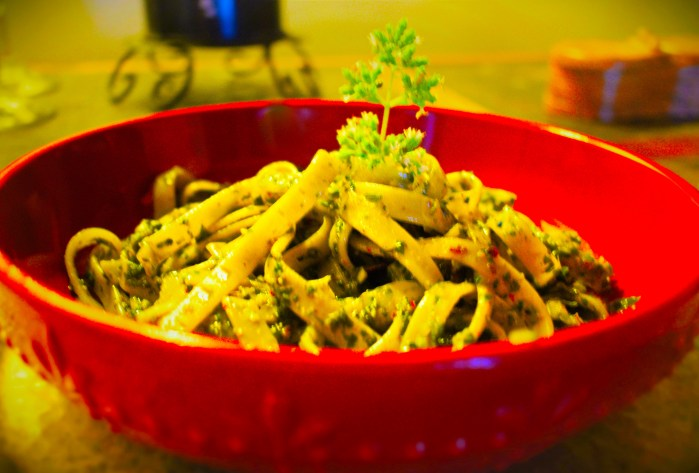 Linguini tossed with fresh basil~oregano pesto