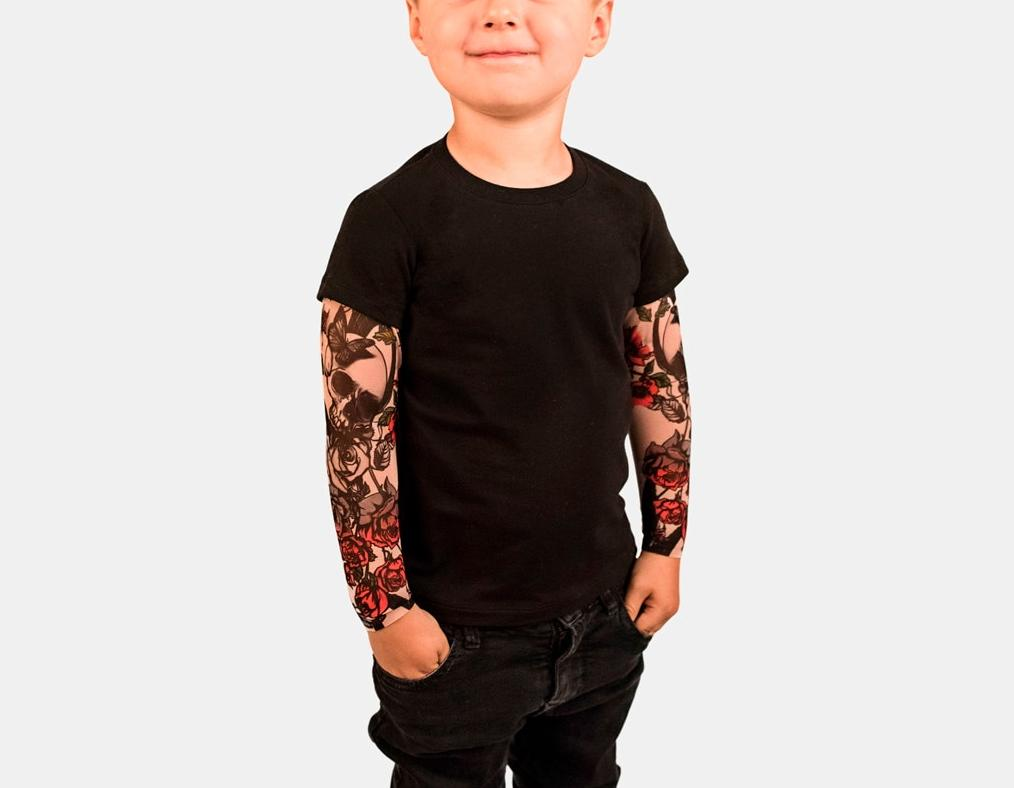 Toddler Baby Kids Boys T-shirt With Mesh Tattoo Printed Sleeve Floral Tee T-shirt Children Hip Hop Rock Tshirt Toddler Baby Top