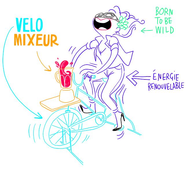 vélo+mixeur = vélomixeur. Energie renouvelable. Born to be wild