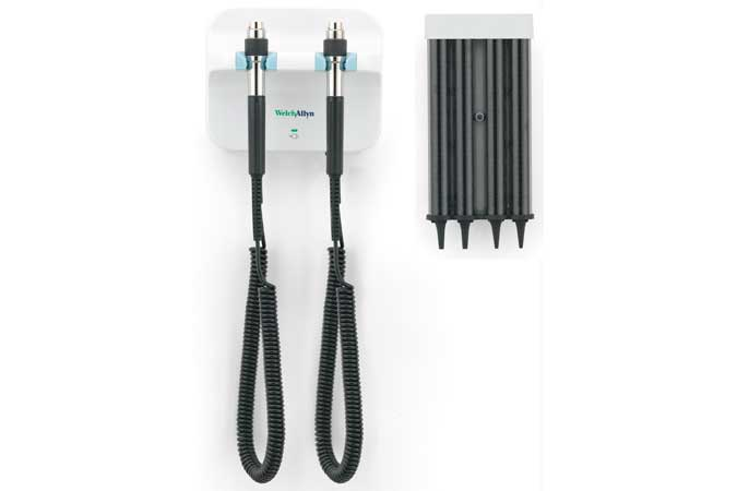 Welch Allyn Green Series 777 Wall Diagnostic System including KleenSpec Disposable Specula Dispenser