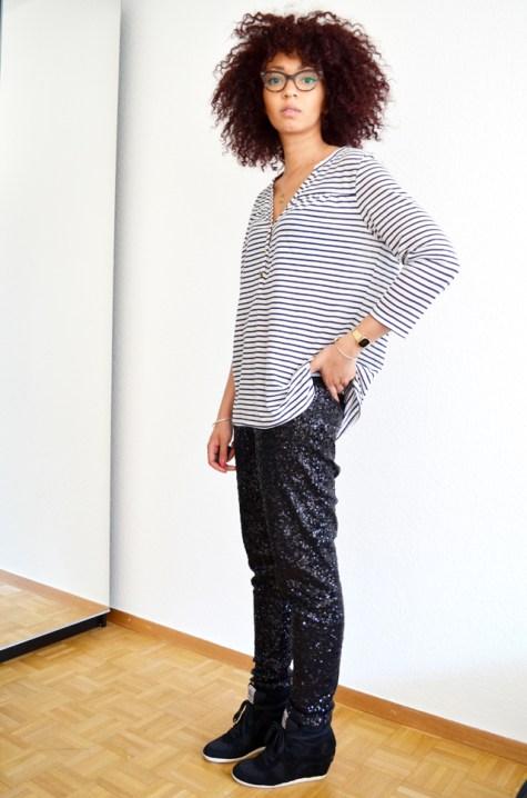 mercredie-blog-mode-geneve-suisse-mariniere-hm-pantalon-legging-sequins-noirs-afro-hair-cheveux-frises-rayban-cateye-ash-bowie-black