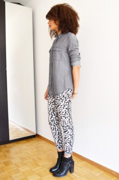mercredie-blog-mode-grey-shirt-chemise-grise-denim-hm-jules-heeled-allsaints-biker-boots-afro-nappy-hair-weave-curl-curls