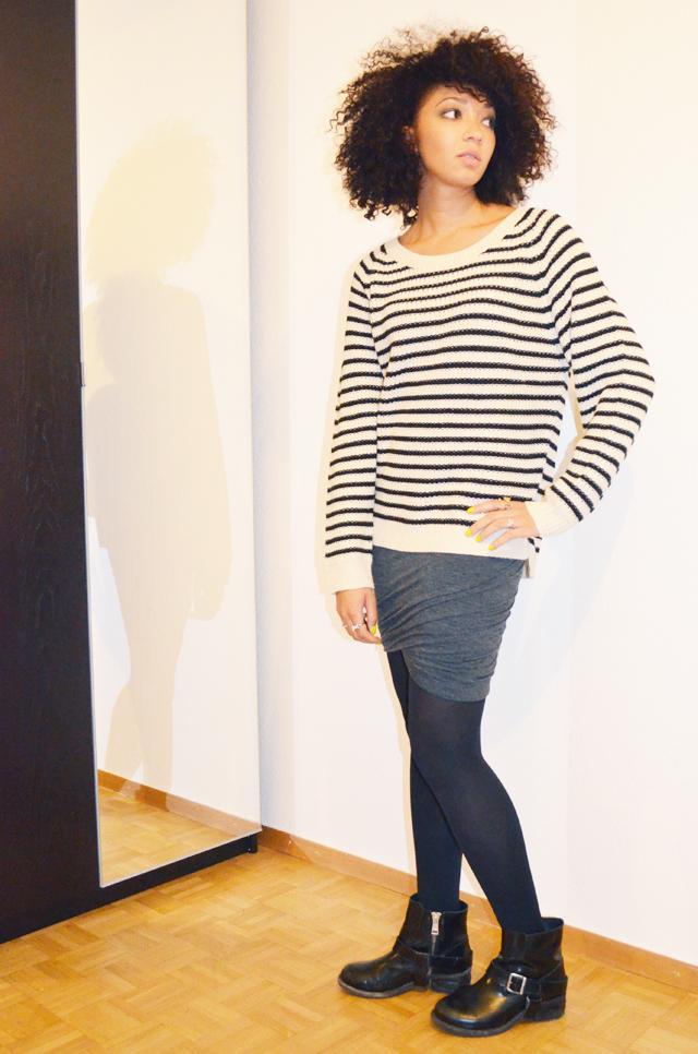 mercredie-blog-mode-boots-jules-allsaints-jupe-plissee-ebay-isabel-marant-ersatz-vanessa-bruno-afro-nappy-hair-2-mariniere