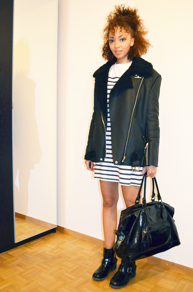mercredie-blog-mode-beaute-mariniere-robe-just-female-dress-boots-biker-jules-allsaints-all-saints-curly-hair-nappy-hair-natural-longchamp-legende-xl-kate-moss-stylenanda-shearling-jacket-acne-ersatz